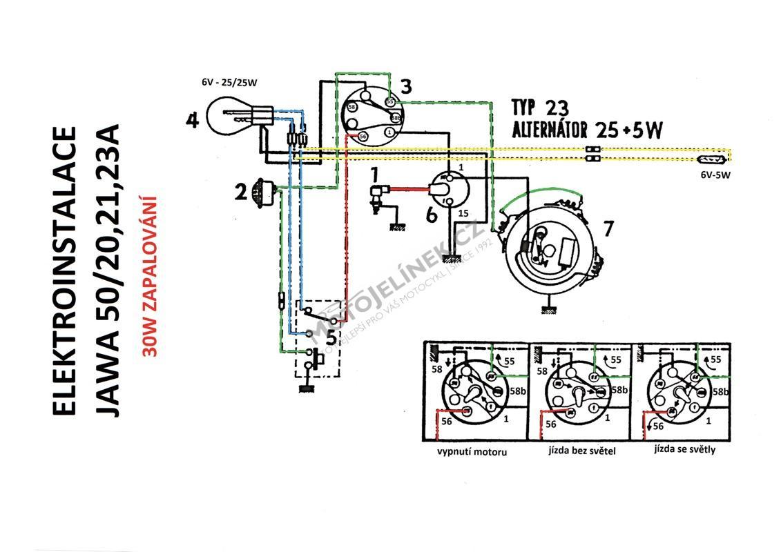 Elektroinstalace 30w Jawa 50 20 23a Motojelinek Cz Nahradni