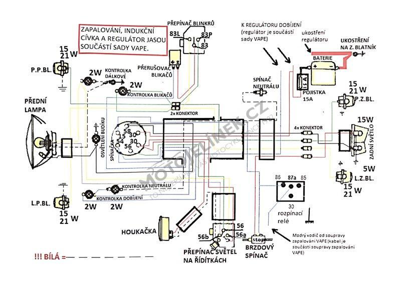 Elektroinstalace Vape 12v Jawa 350 634 S Jednim Budikem